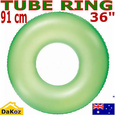 Green Inflatable Donut Lilo Air Mat Bed Pool Lake Float Swimming Tube Ring Frost
