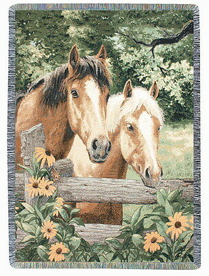 Horse Sense ~ Horses in Pasture Tapestry Afghan Throw ~ Artist, Linda Picken