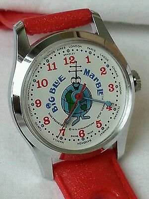 Vintage Hand Wind Big Blue Marble tv character wrist watch 1970s uncommon, nice!