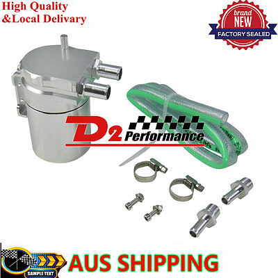 Baffled Universal Alloy Oil Catch Can Silver Reservoir Tank