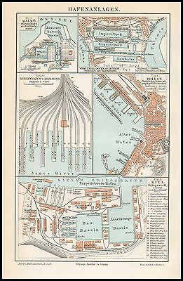 Landkarte Stadtplan Kriegswerft Kiel Triest Richmond Malmö London 1895 Original