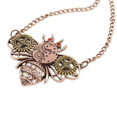 New Steampunk Gear Bee Pendant Chain Necklace Rhinestone Victorian Jewellery