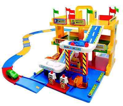 Large Kids Toy Car Park Auto Parking Garage Petrol Station Play Set with Cars