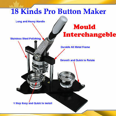 18 Kind Pro Metal Frame Round Square Rectangle Oval Badge Button Maker Machine