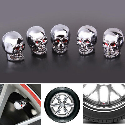 5Pcs Red Eyes Skull Evil Tyre Tire Air Valve Stem Dust Caps For Bike Car Truck