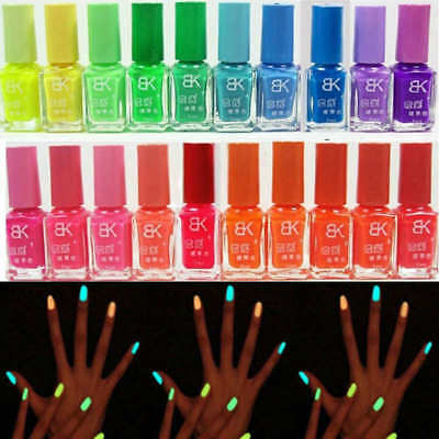 20Colors 7ml Glow in the Dark Nail Art Polish Varnish Manicure DIY Beauty Tool