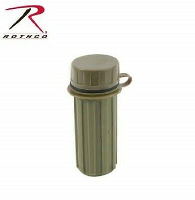 Waterproof match case PAIR Rothco 670 olive drab green plastic with striker new