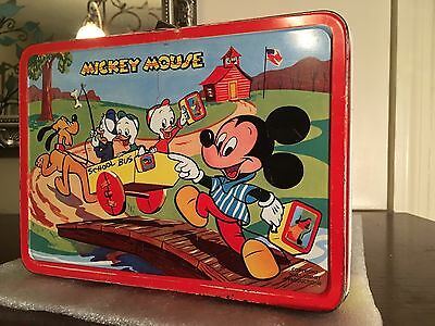 Vintage 1954 Mickey Mouse And Donald Duck Lunchbox - Adco