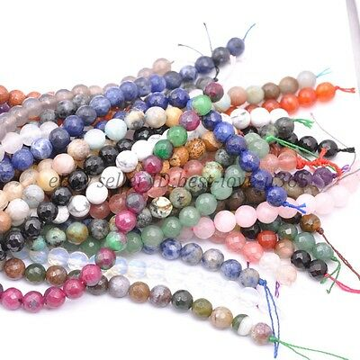 Wholesale Natural Gemstone FACETED Round Spacer Loose Bead 4MM 6MM 8MM 10MM 12MM