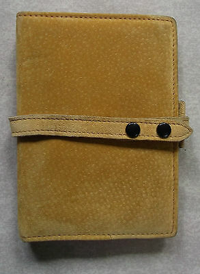 NEW MUSTARD YELLOW SUEDE LEATHER POCKET SIZE FILE ORGANISER WALLET 15mm DIAMETER