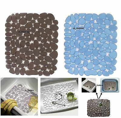 Deluxe Sink Mat Pebble Dish Drainer Glass Scratch Protector Kitchen Washing Up