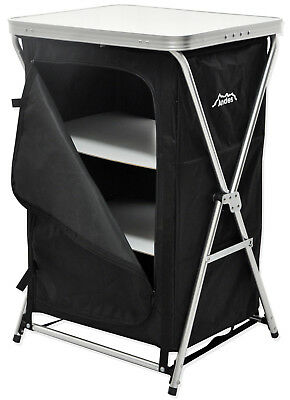 Andes Foldable 3 Shelf Camping Cabinet Tent Storage Wardrobe Cupboard