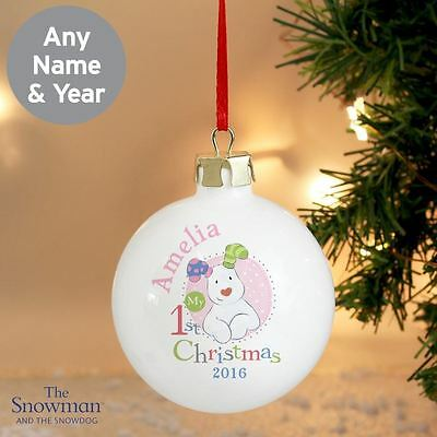 The Snowdog Personalised Babys 1st Christmas Tree Bauble Gift For Babies Pink