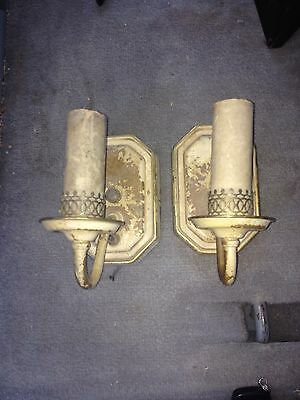 "1930's 6 3/4"" Pr Light Fixture Sconces"