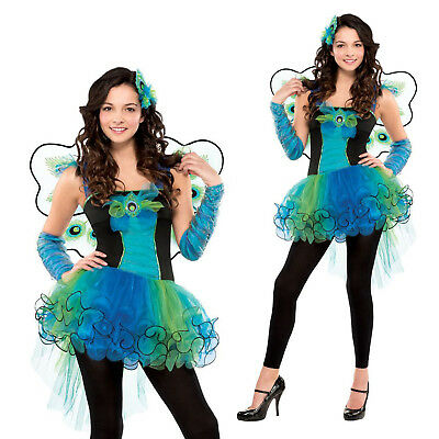 Girls Peacock Diva Teens Bird Feather Party Fancy Dress Costume Outfit