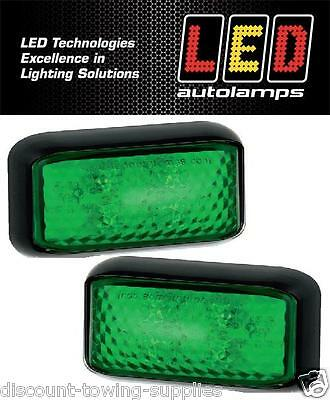 2 X LED Autolamps 35GME Trailer & Commercial Green Marker Lamp 12/24V
