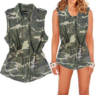 Ladies Camouflage Utility Gilet Sleeveless Button Up Multi Pocket Waistcoat Top
