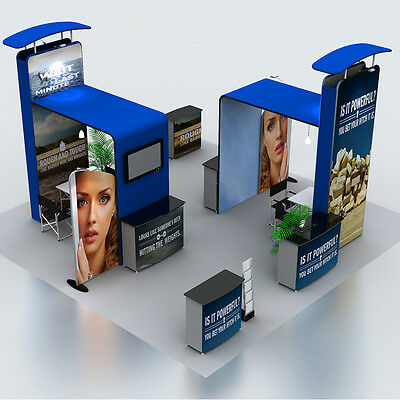 20ft TRADE SHOW DISPLAY BOOTH POP UP STAND SYSTEM WITH CUSTOM GRAPHIC