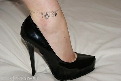 Premium 'I <3 DP' Hotwife Anklet Ankle Chain Jewellery Double Penetration Lover
