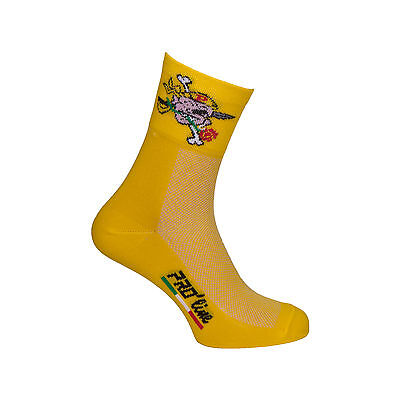 Calzini Ciclismo Proline Pirate Giallo Cycling Socks 1 Paio One Size New Line