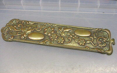 Antique Solid Cast Brass Finger Plate Push Door Handle Vintage Floral Leaf Vine