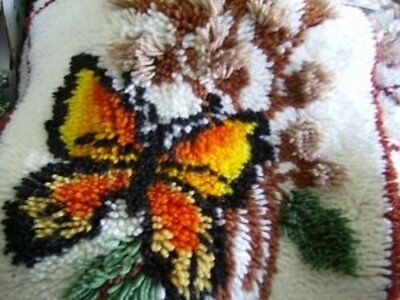 2 Finished Monarch Butterfly Rug Hooked Pictures, Rugs