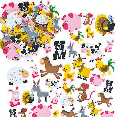Farm Animal Foam Stickers for Kid's Crafts & Card Making Activities (Pack of 96)
