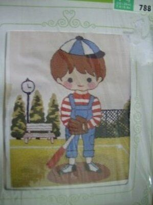 Tokyo Bunka Boy Baseball Player Punch Needle Embroidery Picture #788