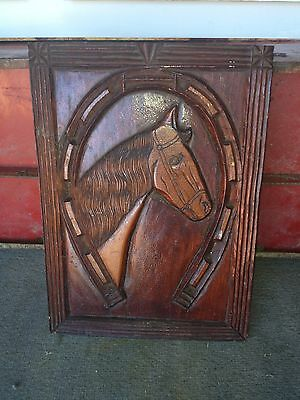 "Early 13 3/4"" Carved Wood Horse  W/ Horseshoe Panel Pediment"