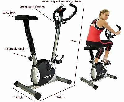 BLACK Upright Cardio Exercise Belt Bike Indoor Cycle Fitness w/ LCD Display New