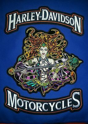 Harley Davidson Rocker with 11'' by 10'' Sorceress Patch, FREE SHIPPING