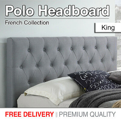King Size Bed Head Headboard Upholstered Fabric Tufted Style For Base Brand New