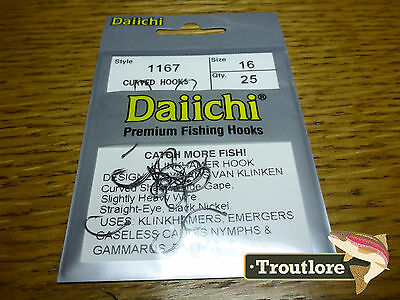 25 x DAIICHI 1167 #16 KLINKHAMER HOOKS for EMERGERS & DRY FLIES NEW FLY TYING