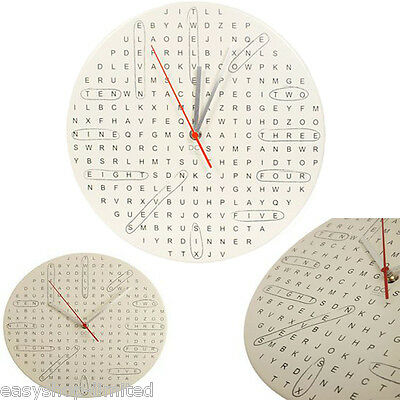 Large Round Wall Clock Home bedroom Kitchen Wall Clock Quartz WORDSEARCH Design