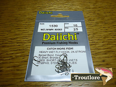 25 x DAIICHI 1530 #16 HEAVY NYMPH HOOKS for WET FLIES - NEW FLY TYING