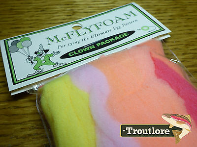 Mcflyfoam Clown Combo Package Glo Bug Egg Yarn -New Glow Bug Fly Tying Materials