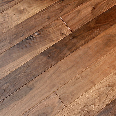 "31/4"" & 4"" Mixed UV Oiled Walnut Hand Scraped Solid Engineered Wood Floor Sample"