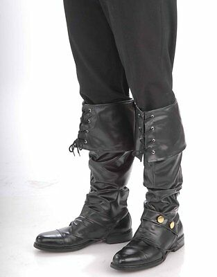 Deluxe Black Pirate Boot Tops Covers Spats Adult Costume Accessory