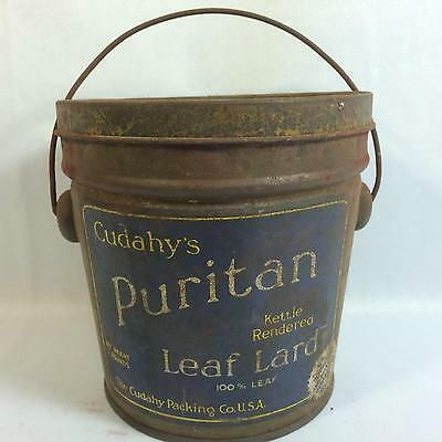 Vintage Cudahy's Puritan Leaf Lard Can Cudahy Packing Company Wisconsin Baking
