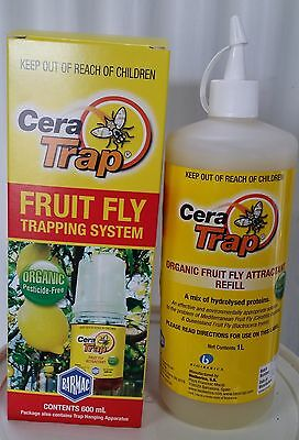 Cera Trap FRUIT FLY TRAPPING SYSTEM (600ml) and Refill (1L)- Organic