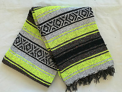 """Authentic Yellow Mexican Falsa Blanket Hand Woven Yoga Mat Blanket 72""""x 54"""""""