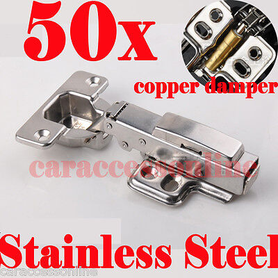 50x cabinet Door hinge Soft Close Full Overlay Stainless steel kitchen cupboard