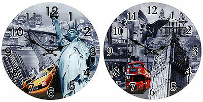 38Cm Large Round Glass Wall Clock - 4 Designs To Choose From