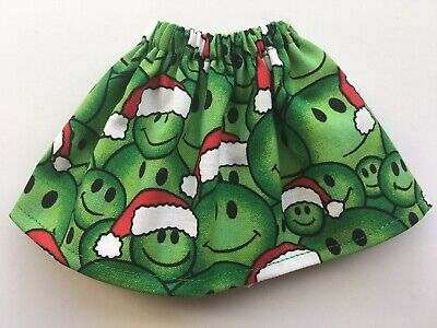 CHRISTMAS ELF GIRL DOLL SKIRT GREEN SMILEY FACE w/ RED SANTA CLAUS HATS