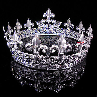 Men's Imperial Medieval Fleur De Lis Silver King Crown 8.5cm High 18cm Diameter