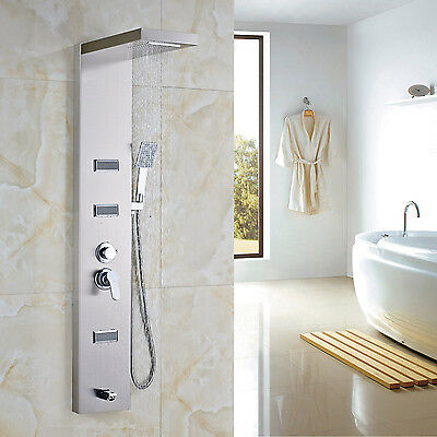 Stainless Waterfall Rain Shower Panel Faucet Set Body Sprays with Hand Shower