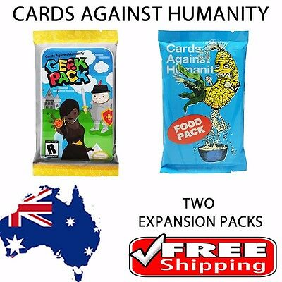 Cards Against Humanity - 2 x Expansion Packs - Food and Geek Expansions