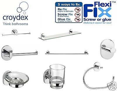 Croydex Toilet Roll Holder Towel Rail Glass Shelf Tumbler Soap Dish Bathroom