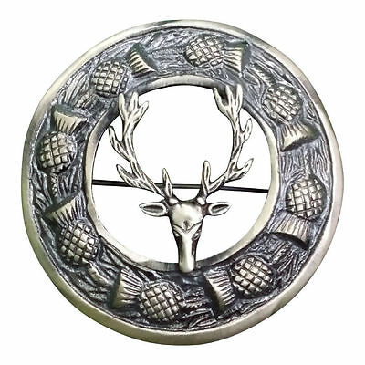 "Scottish Kilt Fly Plaid Brooch Stag Head Antique Finish 3""/Stag Head Brooches"