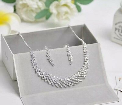 Bridal Wedding Party Austrian Crystal Sparkle Necklace Earrings Jewellery set